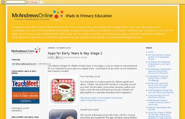 http://mrandrewsonline.blogspot.com/2012/03/apps-for-early-years-key-stage-1.html