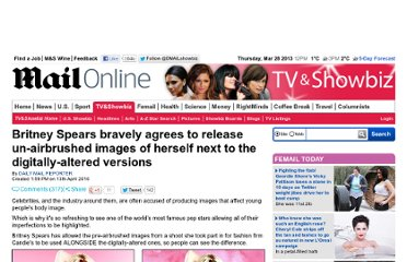 http://www.dailymail.co.uk/tvshowbiz/article-1265676/Britney-Spears-releases-airbrushed-images-digitally-altered-versions.html