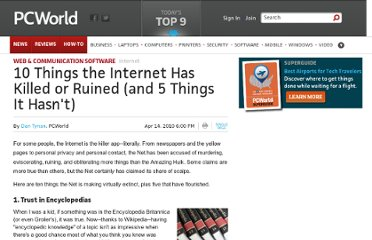 http://www.pcworld.com/article/194081/things_the_internet_ruined.html