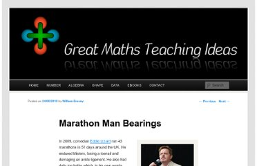 http://www.greatmathsteachingideas.com/2010/06/24/marathon-man-bearings/