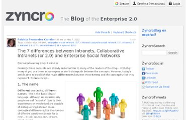 http://en.blog.zyncro.com/2012/05/07/the-7-differences-between-intranets-collaborative-intranets-or-2-0-and-enterprise-social-networks_i/