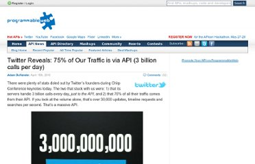 http://blog.programmableweb.com/2010/04/15/twitter-reveals-75-of-our-traffic-is-via-api-3-billion-calls-per-day/