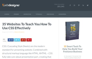 http://www.1stwebdesigner.com/css/35-websites-to-teach-you-how-to-use-css-effectively/