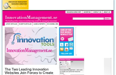 http://www.innovationmanagement.se/2012/05/08/the-two-leading-innovation-websites-join-forces-to-create-the-worlds-largest-aggregated-audience-of-innovation-management-professionals/