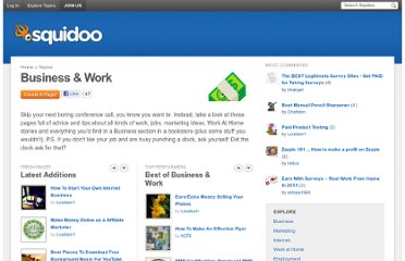 http://www.squidoo.com/topics/business-and-work