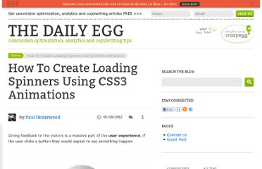 http://blog.crazyegg.com/2012/05/08/loading-spinners-css3-animation/