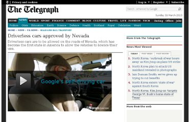 http://www.telegraph.co.uk/news/uknews/road-and-rail-transport/9252657/Driverless-cars-approved-by-Nevada.html