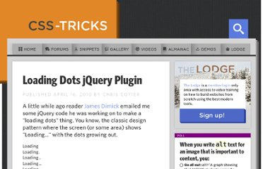 http://css-tricks.com/loading-dots-plugin/