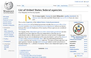 http://en.wikipedia.org/wiki/List_of_United_States_federal_agencies