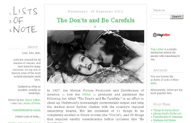 http://www.listsofnote.com/2012/02/donts-and-be-carefuls.html