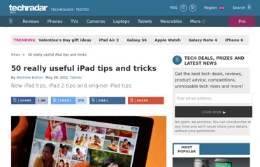 http://www.techradar.com/news/mobile-computing/tablets/50-really-useful-ipad-tips-and-tricks-688556