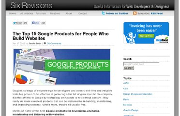 http://sixrevisions.com/tools/the-top-15-google-products-for-people-who-build-websites/