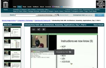 http://archive.org/details/IntroductoryIntelX86ArchitectureAssemblyApplicationsDay1Part4