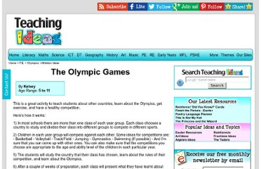 http://www.teachingideas.co.uk/pe/olympicgames.htm