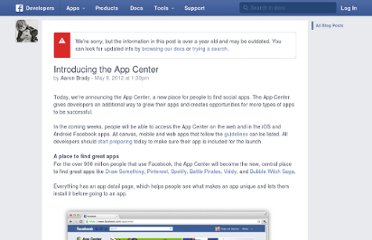 http://developers.facebook.com/blog/post/2012/05/09/introducing-the-app-center/