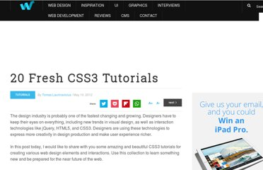 http://webdesignledger.com/tutorials/20-fresh-css3-tutorials