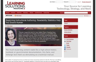 http://www.learningsolutionsmag.com/articles/926/beginning-instructional-authoring-readability-statistics-help-you-sound-human