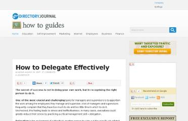 http://www.dirjournal.com/guides/how-to-delegate-effectively/