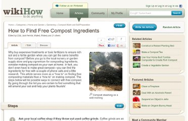 http://www.wikihow.com/Find-Free-Compost-Ingredients
