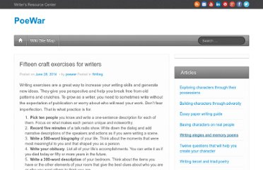 http://poewar.com/fifteen-craft-exercises-for-writers/