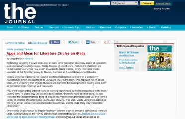 http://thejournal.com/articles/2012/05/08/apps-and-ideas-for-literature-circles-on-ipads.aspx?m=1
