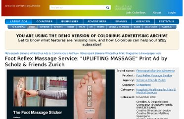 http://www.coloribus.com/adsarchive/prints/foot-reflex-massage-service-uplifting-massage-8985705/