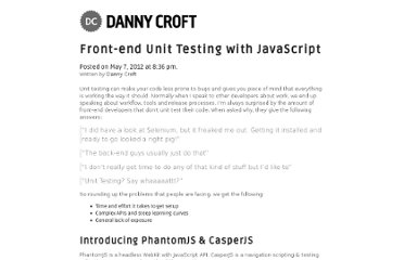 http://dannycroft.co.uk/front-end-unit-testing-with-javascript/