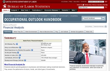 http://www.bls.gov/ooh/Business-and-Financial/Financial-analysts.htm