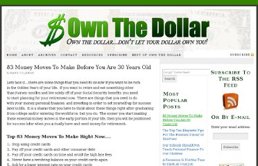 http://ownthedollar.com/2009/12/83-money-moves-to-make-to-retire-rich/