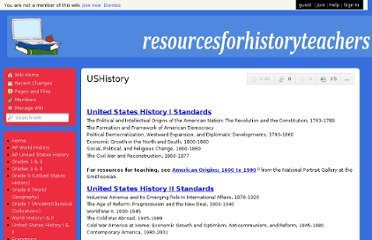 http://resourcesforhistoryteachers.wikispaces.com/USHistory