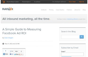 http://blog.hubspot.com/blog/tabid/6307/bid/32790/A-Simple-Guide-to-Measuring-Facebook-Ad-ROI.aspx