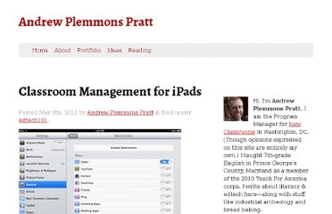 http://www.appratt.com/2012/05/classroom-management-for-ipads/