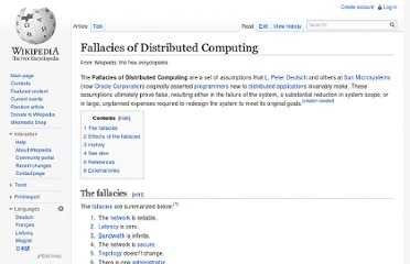 http://en.wikipedia.org/wiki/Fallacies_of_Distributed_Computing