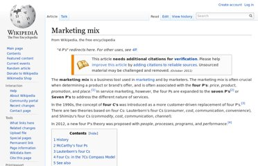 http://en.wikipedia.org/wiki/Marketing_mix