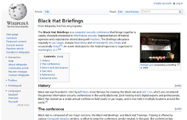 http://en.wikipedia.org/wiki/Black_Hat_Briefings