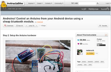 http://www.instructables.com/id/Androino-Talk-with-an-Arduino-from-your-Android-d/step2/Setup-the-Arduino-hardware/