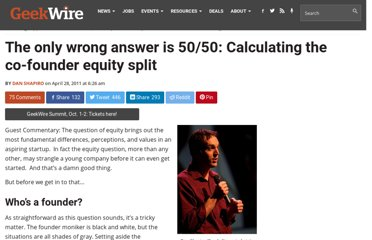 http://www.geekwire.com/2011/wrong-answer-5050-calculating-cofounder-equity-split/