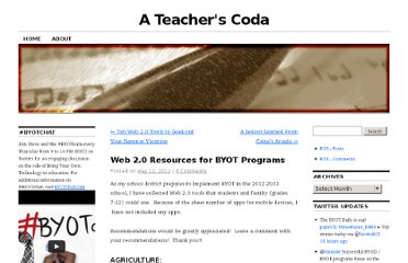 http://ateacherscoda.com/2012/05/12/web-2-0-resources-for-byot-programs/