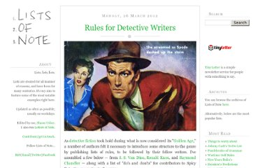 http://www.listsofnote.com/2012/03/rules-for-detective-writers.html