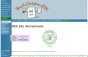 http://www.teachchildrenesl.com/worksheets.htm