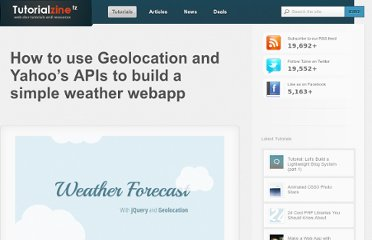 http://tutorialzine.com/2012/05/weather-forecast-geolocation-jquery/
