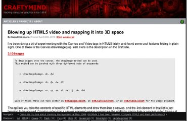 http://www.craftymind.com/2010/04/20/blowing-up-html5-video-and-mapping-it-into-3d-space/