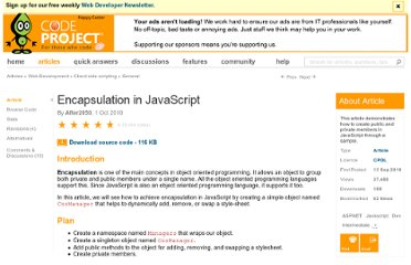 http://www.codeproject.com/Articles/108786/Encapsulation-in-JavaScript