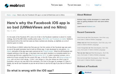 http://blog.mobtest.com/2012/05/heres-why-the-facebook-ios-app-is-so-bad-uiwebviews-and-no-nitro/