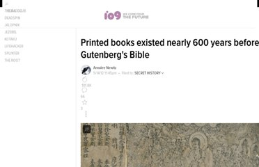 http://io9.com/5910249/printed-books-existed-nearly-600-years-before-gutenbergs-bible