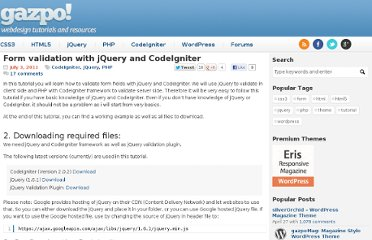 http://gazpo.com/2011/07/codeigniter-jquery-form-validation/