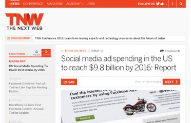 http://thenextweb.com/socialmedia/2012/05/15/social-media-ad-spending-in-the-us-to-reach-9-8-billion-by-2016-report/