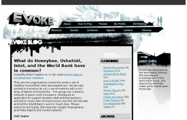 http://blog.urgentevoke.net/2010/04/21/what-do-honeybee-ushahidi-intel-and-the-world-bank-have-in-common/