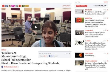 http://gawker.com/5910416/teachers-at-massachusetts-high-school-pull-spectacular-stealth-disco-prank-on-unsuspecting-students
