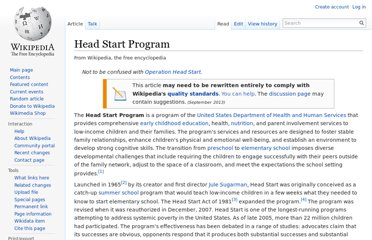 http://en.wikipedia.org/wiki/Head_Start_Program